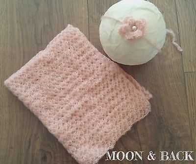 Peach Newborn Knit Mohair Wrap with Headband Blanket Baby Photo Photography Prop