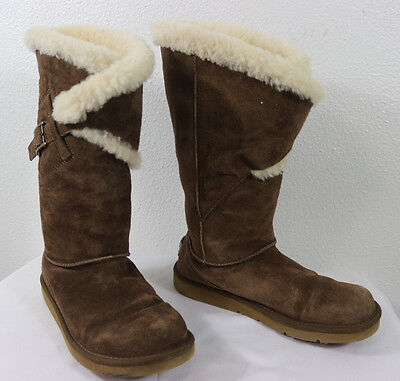 UGG Womens 5358 Suede Sheepskin Lined Tall Boots Brown Size 6