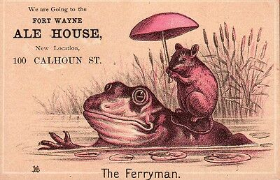 Vintage Advertising Card. Fort Wayne Ale House. The Ferryman. Frog. Mouse.