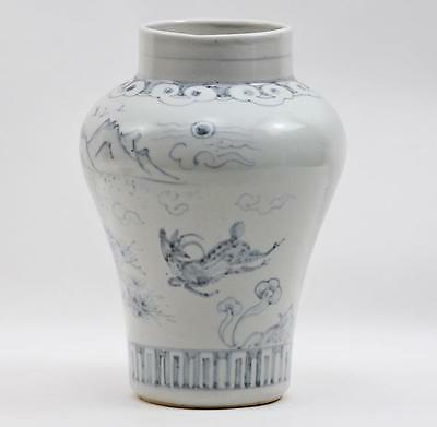 Signed Korean Porcelain Antique Asian Rams in Landscape Vase Mei Ping Vase