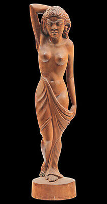 20th C Carved Southeast Asian Nude Female Figure Statue Signed MD PANTI Denpasar
