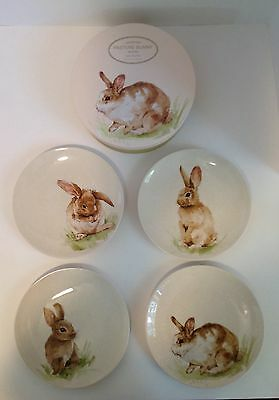 Pottery Barn PASTURE BUNNY RABBIT PLATES Easter NEW IN BOX Mixed Set of 4 NWT