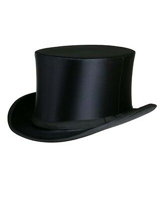 Collapsible Silk Satin Top Hat in Black