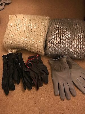 Ladies Scarf & Leather Glove Collection Bundle