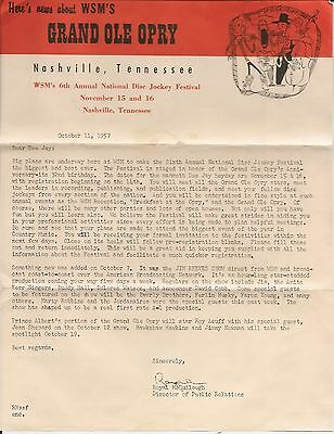 1957 WSM Grand Ole Opry Disc Jockey Convention Letter