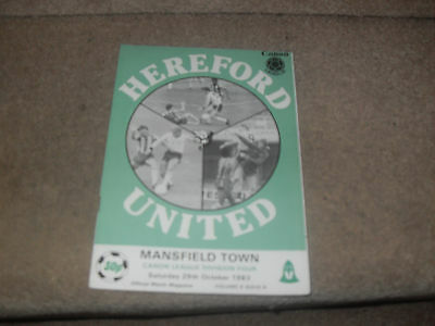 Hereford United v Mansfield Town 29/10/83
