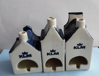 Very RARE: KLM Delft Ashtray Houses. Numbers 5, 8 and 23
