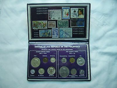 Philippines Coins and Stamps Folder 1967 to 1975 and Up