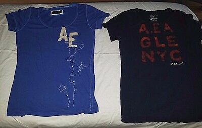 Lot of 2 blue American Eagle Logo style T-shirts Womens LARGE L