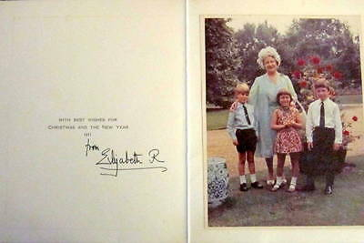 Elizabeth, Queen Mother - Hand Signed Christmas Card  - 1971