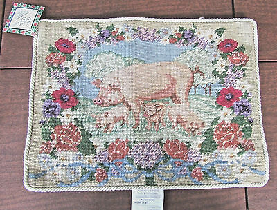 VTG WOOL NEEDLEPOINT PILLOW COVER Pig & Piglets French Country Cottage 16X12 NEW