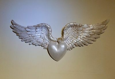 Valentines Gifts,..large  Cupid's Wings & Heart, Mother Of Pearl Finish.