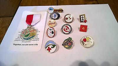 Lot of 12 American Red Cross Lapel Pins - Disaster & ARC Chapter Tacks