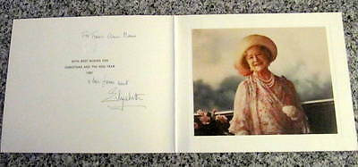 Elizabeth, Queen Mother - Hand Signed Christmas Card  to KING & QUEEN of Greece