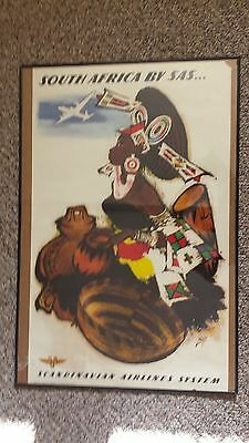SAS Scandinavian Airlines Original Poster for SOUTH AFRICA