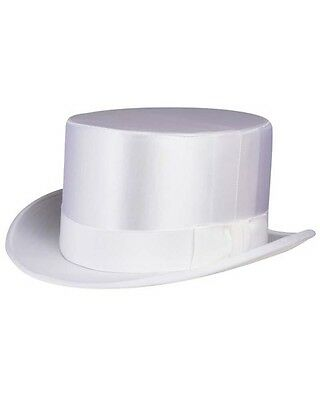 NON Collapsible Silk Satin Top Hat in White