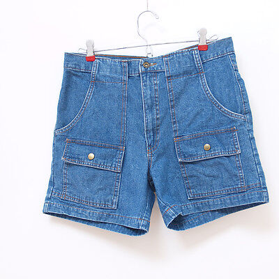 32 inch waist High Waisted Denim blue jean Shorts vintage 70s look L large