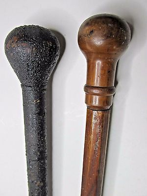 Antique Wood Carved Walking Sticks Set Cane Group Two Oak Vintage Victorian Old