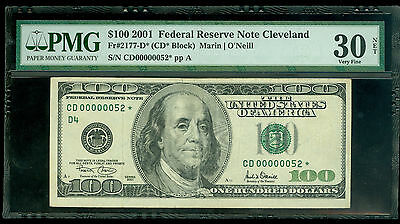 Fr#2177-D* 2001 $100 Rare Cleveland 2 Digit Star Pmg Vf 30 Awesome Rarity