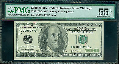 Fr#2179-G* 2003-A $100 Rare Chicago 3 Digit Star Pmg About Unc 55 Epq Awesome!!