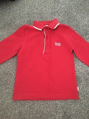 Boys Red Boss Long Sleeve Polo Shirt 18 Months