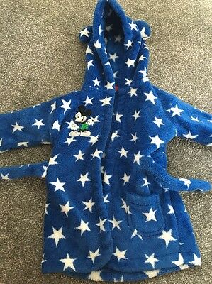 Baby Boys Mickey Mouse Dressing Gown Size 6-12 Months