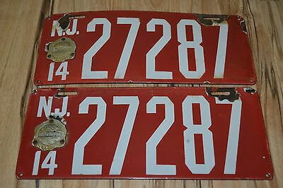 Matching Pair 1914 New Jersey Porcelain License Plate with Certified Maker Badge