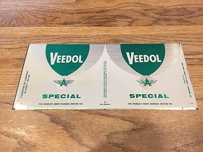 Vintage Veedol Quart Oil Can Skin Green Wings Special Very Rare Rare