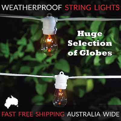 10m WhiteFestoon String Lights | Huge Selection of Globe Types | Outdoor Party
