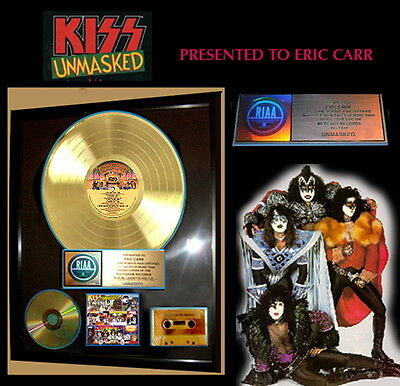 """KISS """" UNMASKED""""  Authentic, RIAA GOLD RECORD AWARD to KISS, ERIC CARR"""