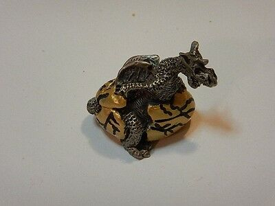 Fantasy Pewter Baby Dragon Figure hatching from Golden Egg