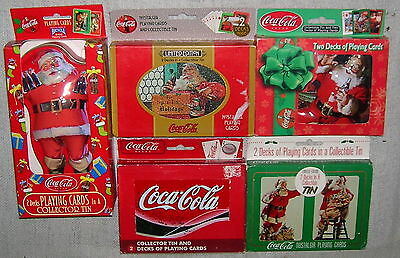 Lot of 5 Christmas Santa Coca-Cola Tins of Playing Cards