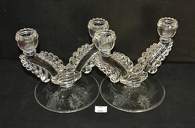 ThriftCHI ~ Paden City Glass Nerva Double Candlestick Holders (2)