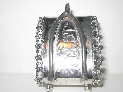 "Antique Napkin Ring,Triangle Shape,Double Wish Bone Motif,Engraved ""Best Wishes"""