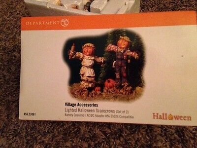 Dept 56 Halloween Village Accessory LIGHTED HALLOWEEN SCARECROWS 53061
