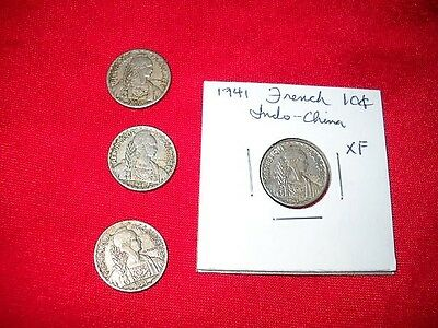 French indochina 10 centimes 4 coin lot.