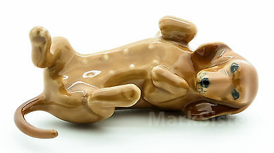 Figurine Animal Ceramic Brown Dachshund lying on Back Dog - CDG011