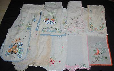 Antique Table Runner Lot of 14 Embroidered Lace Cream Orange Linen Floral Croche