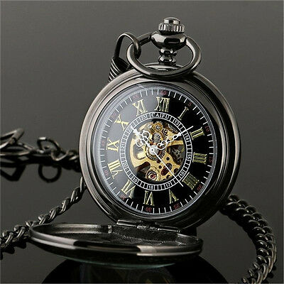 Chain Roman Pattern Quartz Display Roman Numbers Pocket Watch Hollow Pointer