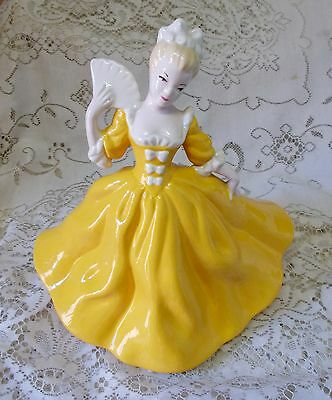 VINTAGE 24cm YELLOW CRINOLINE LADY WITH FAN FIGURINE