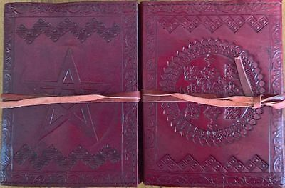 Pentagram Pentacle Leather Bound Journal Diary Book Of Shadows Small
