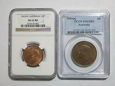 Australia 1943 M P 1 Penny Half Pcgs Ngc Ms Mixed Type Coin Old Collection Lot