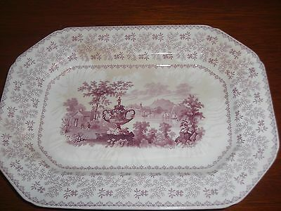 C1846 Rmw Granite China Purple Staffordshire Oval Platter Agricultural Vase