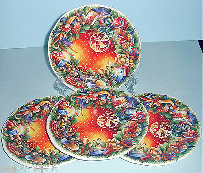 Gien Noel Canape Appetizer Plates SET/4 Christmas '09 French Faience New Boxed