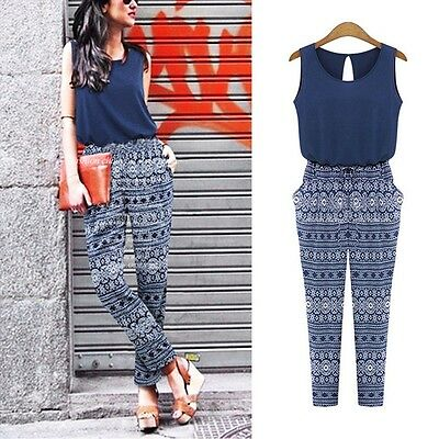 Women Ladies Clubwear Crew Neck Playsuit Bodycon Party Jumpsuit&Romper Trousers