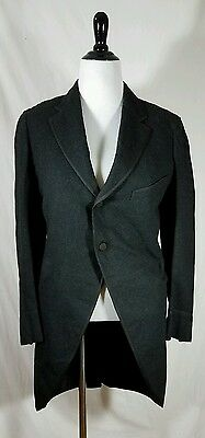 Black Tuxedo Jacket Morning Coat 100% Wool 1920's Costume Victorian Vintage 38R