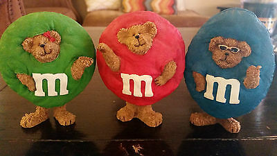 Boyds Bears And Friends Resin Figurine Red, Blue + Green M&M Lot of 3!
