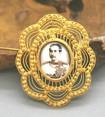 Magnificient Solid 23k Yellow Gold Thailand King Chulalongkorn Brooch Pendant