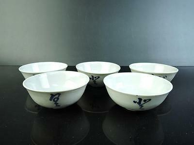 E6385: Japanese Old Imari-ware Blue&White Poetry pattern TEA CUP 5pcs