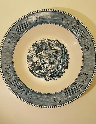 """""""CURRIER & IVES"""" Royal Blue Scene Scrolls """"Maple Sugaring"""" Round Vegetable Bowl"""